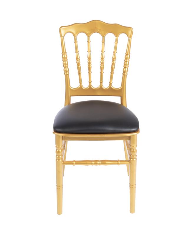 Gouden franse stoel met zwarte zitting