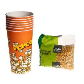 Bekers en mais voor 10 porties popcorn