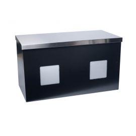 Buffettafel LED zwart met rvs bovenblad (80x160 cm)
