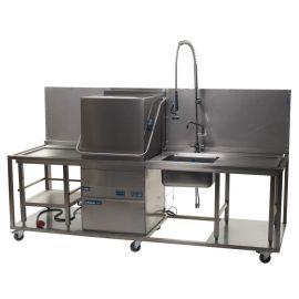Vaatwasser doorschuif met spoel- en afvoertafel