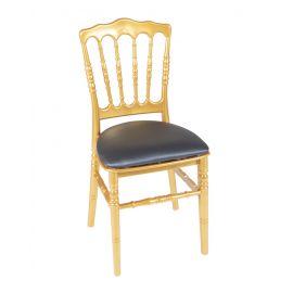 Gouden franse stoel met blauwe zittin