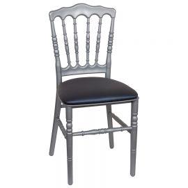 Zilveren franse stoel met blauwe zitting