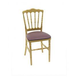 Gouden franse stoel met paarse zitting