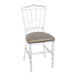 Transparante franse stoel met bronzen zitting