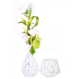 Tafeldecoratie set 2 stuks (1x bloem & 1x waxinelicht)